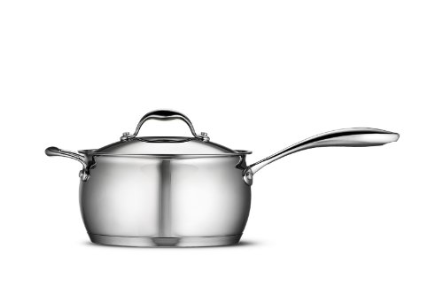 Tramontina Gourmet 4 Quart 18/10 Stainless Steel Tri-Ply Base Covered Sauce Pan with Helper Handle
