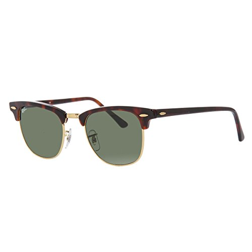 Ray-Ban CLUBMASTER - MOCK TORTOISE/ ARISTA Frame CRYSTAL GREEN Lenses 49mm - Ban Ray Clubmaster Sunglasses