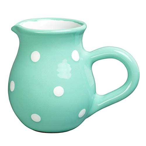- City to Cottage Handmade Teal Blue and White Polka Dot Ceramic Creamer, Milk Jug, Pourer, Pitcher Jug, Pottery Housewarming Gift for Tea Coffee Lovers