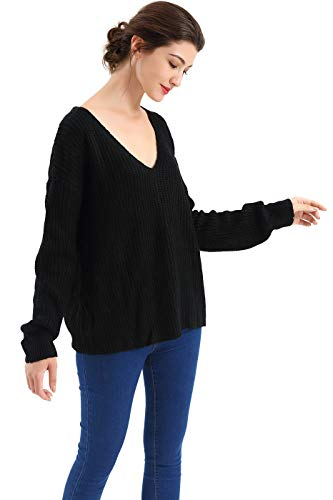 man Sleeve Scoop Neck Ribbed Knit Sweater,Black1,Medium ()