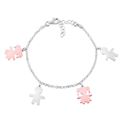 - UNICORNJ Sterling Silver 925 High Polished Bicolor Rose Gold Plated Girl Boy Silhouette Figure Charm Bracelet 8