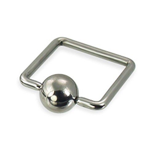 MsPiercing Square Captive Bead Ring, 16 Ga, 1/2