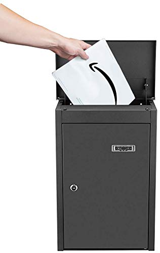 PEELCO 19'' Package Delivery Box for Porch Drop Boxes & Lockers - Large Locking Modern Mailbox for Large Parcels - Vertical Wall Mount or Freestanding - Rust & Weather Proof - 4 Spare Keys by PEELCO (Image #3)
