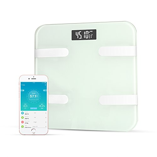 Qing Bluetooth Smart Body Fat Scale Monitor Body Fat,Scale Body Fat,Total Body Water,Muscle Mass and Bone Mass for Your Family(White)