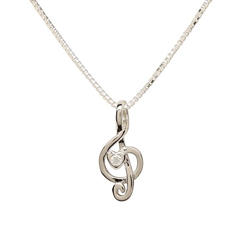 Girl's Sterling Silver Music Note Pendant with Sparkling -