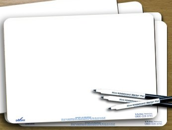 Pack of 10 x Mini Whiteboards & 10 x Dry-wipe pens A4 size: Amazon ...