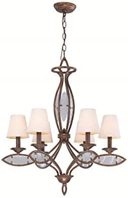 Lite Source LS-19136 Damaris 6-Lite Chandelier Lite, Aged Bronze with Linen Shade