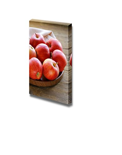 (Canvas Prints Wall Art - Still Life Ripe Red Apples Autumn Harvest on a Wooden Table | Modern Wall Decor/Home Decoration Stretched Gallery Canvas Wrap Giclee Print & Ready to Hang - 24
