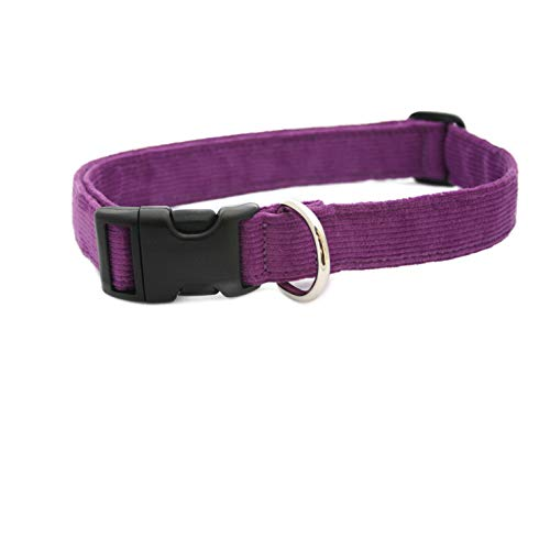 "3/4"" Plum Medium Hemp Corduroy Dog Collar"