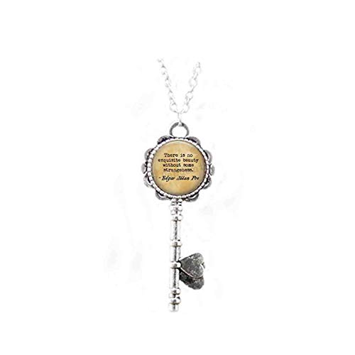 Edgar Allan Poe Quote - There is no Exquisite Beauty Without Some Strangeness. - Literary Jewelry - Quote About Beauty - Book Jewelry Key Necklace