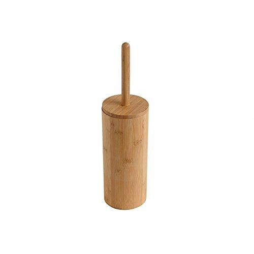 Woodluv Round Natural Bamboo Wood Toilet Brush & Holder