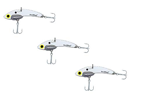 SteelShad - Lipless Crankbait for Freshwater & Saltwater Fishing - Long Casting Bass Lure Perfect for Bass, Pike, Musky, Walleye, Trout, Salmon and Striper - White 3 Pack