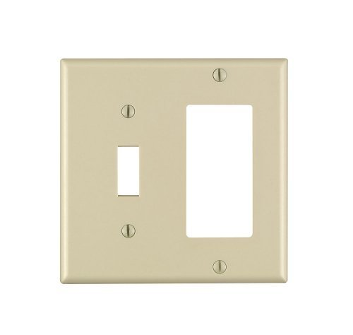 Leviton 80405-I 2-Gang 1-Toggle 1-Decora/GFCI Device Combination Wallplate, Standard Size, Thermoset, Device Mount, Ivory (Ivory Switch Plate)