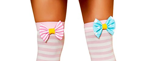 Candy Costume Clown Cotton (Sexy Circus Clown Cotton Candy Striped Knee Socks Costume)
