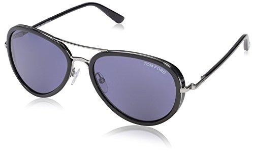 Tom Ford Women's TF341 Sunglasses, Shiny Light Ruthenium/Blue (Ford Tom Sunglasses Ladies 2013)