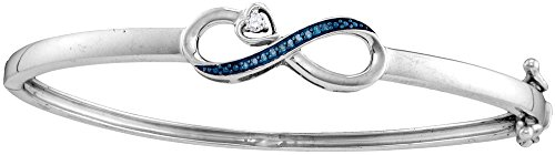 Sterling Silver Womens Round Blue Colored Diamond Infinity Bangle Bracelet 1/20 Cttw (I2-I3 clarity; Blue color) by Jewels By Lux