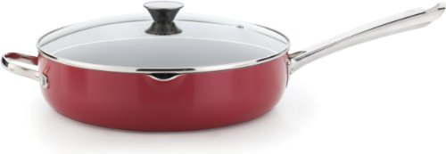 WearEver A82782 Cook and Strain Nonstick Stainless Steel Handle Red Metallic Exterior Jumbo Cooker Fry Pan with Glass Lid Cookware, 5-Quart, Red by Wearever
