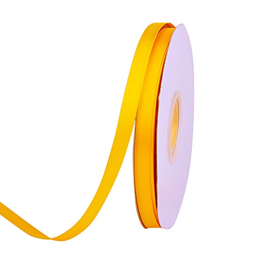 Ribest 3/8 inch 50 Yards Solid Double Face Satin Ribbon Per Roll for DIY Hair Accessories Scrapbooking Gift Packaging Party Decoration Wedding Flowers Maize -