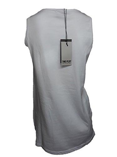 Two Play Canotta Donna Maglietta T-Shirt Girocollo in Cotone Bianco TG S
