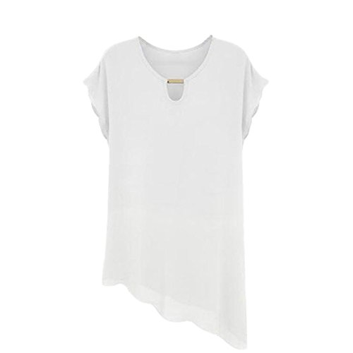 Yonger Women's V Neck Chiffon Shirt Foldable Sleeve Casual Blouse