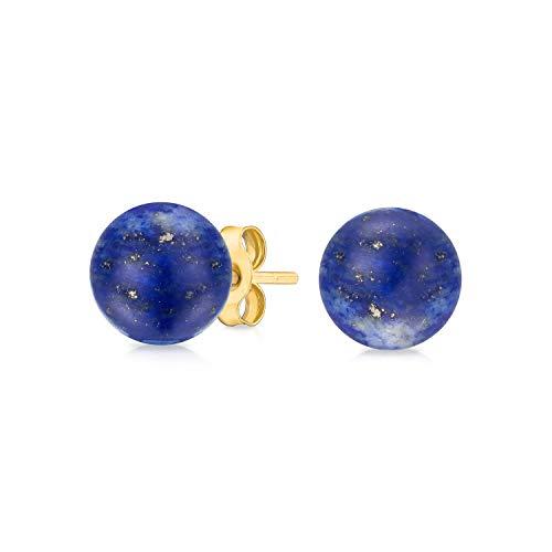 Classic Simple Gemstone Blue Lapis Lazuli Ball Stud Earrings For Women Real 14K Yellow Gold December Birthstone
