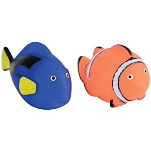 1 Dozen (12) Rubber Water BLUE TANG/CLOWN FISH Bath Toys! Perfect for Birthday Party Favors – Prizes – Stuffers and More!