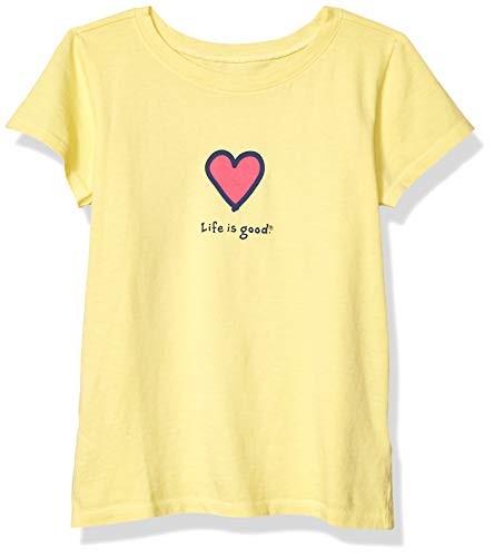 Life is Good Girls Vintage Graphic T-Shirts Collection,Happy Yellow,Small