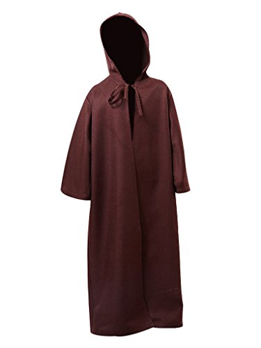Priest Costume Boy (Men & Kids Tunic Hooded Robe Halloween Cosplay Costume Robe Cloak Cape,Kids Brown Robe,Medium)