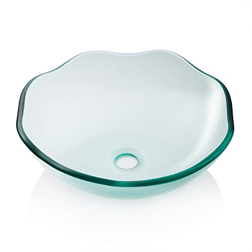 Edged Bowl Kitchen Sink - Miligore Modern Glass Vessel Sink - Above Counter Bathroom Vanity Basin Bowl - Scalloped Clear