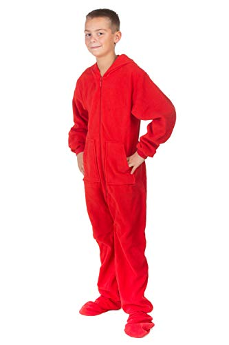 Hoodie Footed Onesie Red Fleece Footed Pajamas for Boys & Girls