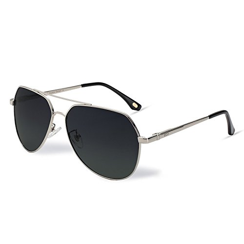 aviador gafas Gray piloto sol TL metal de gafas en Hombre Sunglasses UV plateado400 polarizadas Mujer gwxtzq