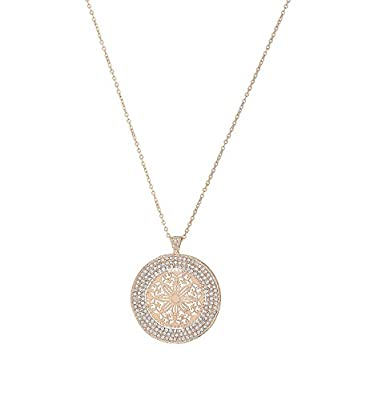DAXI Disc Pendant Round Halo Circle Disk Necklace Emblellished Rhinestone Long Necklaces with Hollow Flower Pendant