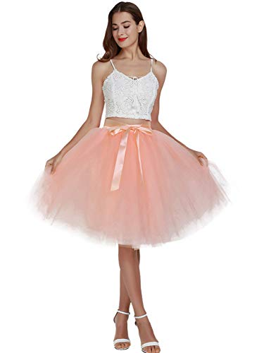 Women's High Waist Princess A Line Midi/ Knee Length Tutu Tulle Skirt for Prom Party Peach ()