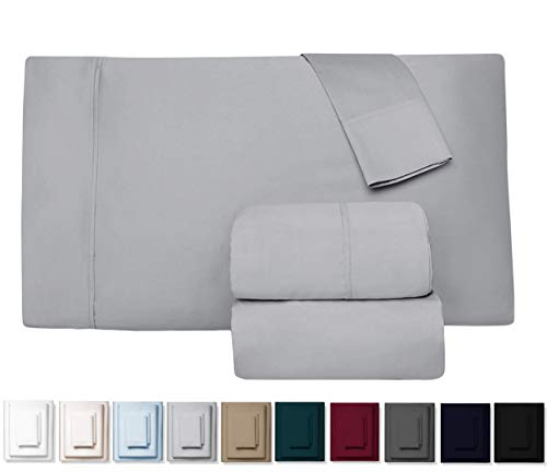 Kemberly Home Collection 600 Thread Count 100% Long Staple Egyptian Pure Cotton - Sateen Weave Premium Bed Sheets, 4 - Piece Silver Queen - Size Luxury Sheet Set, Fits mattresses Upto 18