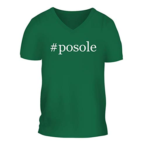 #Posole - A Nice Hashtag Men's Short Sleeve V-Neck T-Shirt Shirt, Green, Large ()