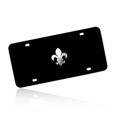 Fleur De Lis Tag (Fleur-De-Lis 3d Emblem Black Auto License Plate)