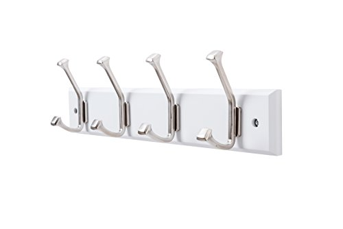 Finnhomy Wooden Coat Hooks Wall Hooks 4 Dual Hooks 16-Inch Rail/Pilltop Rack Long Coat Rack for Clothes Entryway Foyer Storage Organization Bathroom Towel Key Accessory Nickel/White Hook