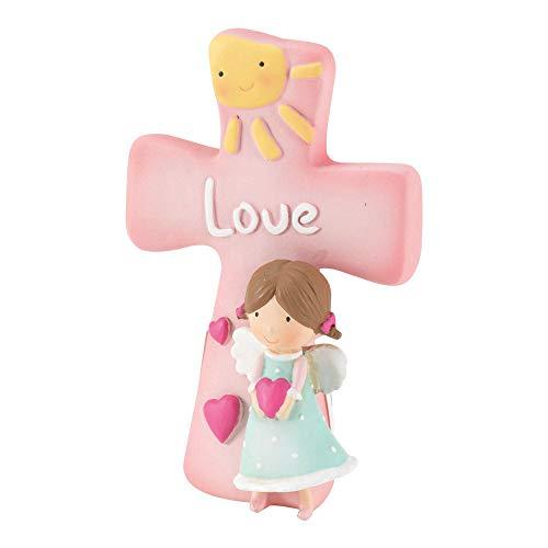 - Love Angel Figurine Pink Rose 3 x 4 Resin Stone Tabletop Cross