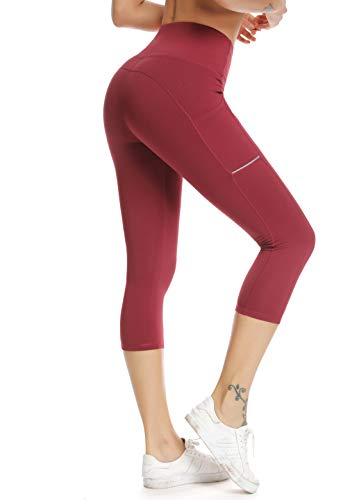 Workout Athletic Pants - Olacia Womens High Waisted with Pockets Yoga Pants Workout Leggings Athletic Capris Tummy Control Running Pants,Red Wine,2X-Large