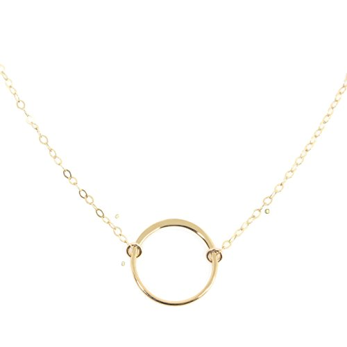 Wild Moonstone Karma Open Circle Necklace, Dainty 14k Gold Filled, Won't (Karma 14k Necklace)