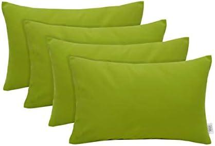 RSH D cor Set of 4 Indoor Outdoor Decorative Rectangle Jumbo 26 x 16 Lumbar Throw Pillows Sunbrella Canvas Macaw Green