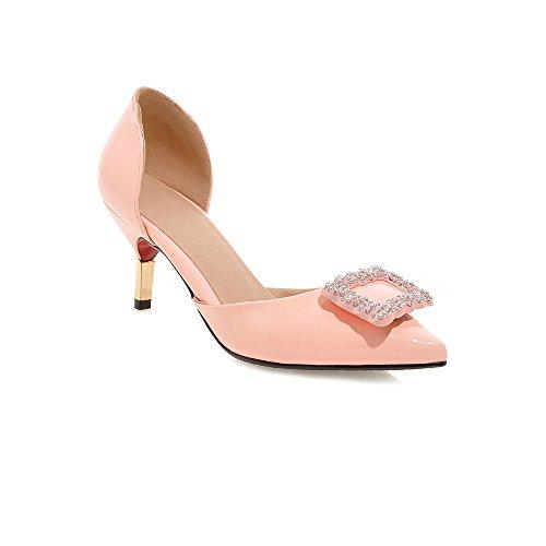 Minivog Femmes Boucle Carrée Dorsay Chaussures À Talons Hauts Rose