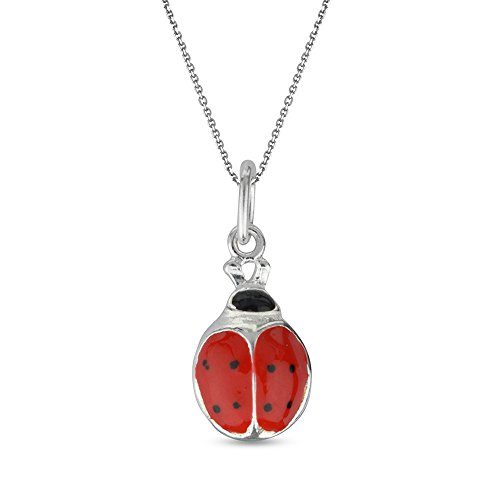 LeCalla Sterling Silver Jewelry Red Enamel Ladybug Animal Theme Charm Pendant with Cable Chain for Kids