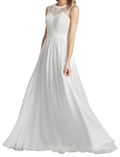 JAEDEN Beach Wedding Dress Lace Chiffon Bridal Gown for Bride Sleeveless White US14