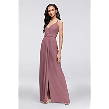 6115de1f37c David s Bridal Double-Strap Long Georgette Bridesmaid Wrap Bridesmaid Dress  Style F19755