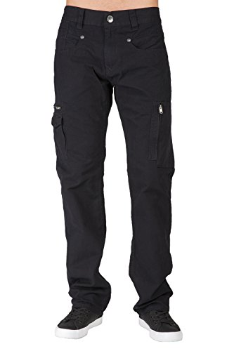 Level 7 Men's Black Garment Washed Relaxed Straight Premium Canvas Zipper Cargo Pocket Jeans (Pocket Zipper Pant Denim)