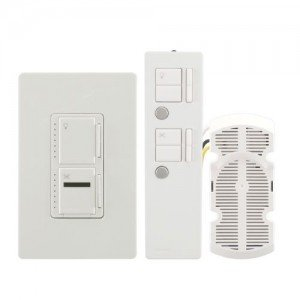 Lutron MIR-LFQTHW-WH Fan Speed Control And 300W Light Dimmer w/ Remote-2PK by Lutron