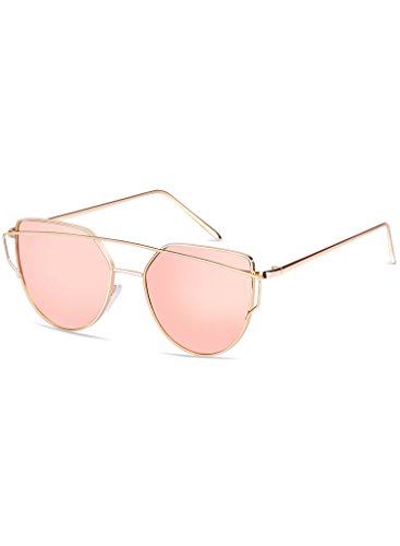 Elimoons Cat Eye Sunglasses Women Mirrored Lenses Metal Frame UV 400 Fashion - Cheap Frames Sunglasses