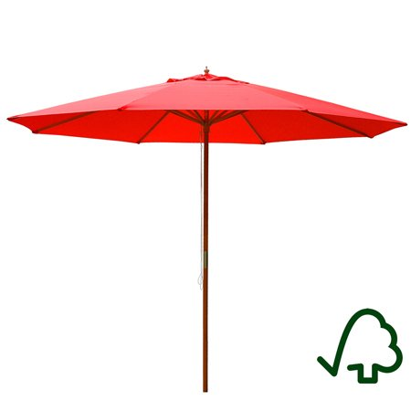 - XL 13' Foot Red Polyester Umbrella & 8-rib Solid Sycamore Wood Pole w/ Pulley for Outdoor Patio Furniture Overhead Cover Canopy UV Protection Sun Shade Café Shop