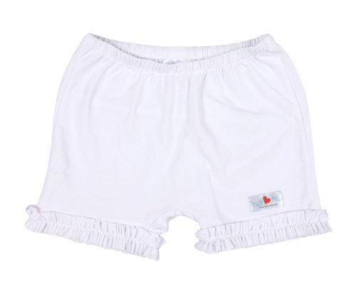Hide-ees Girls Under Dress Shorts With Ruffle (4-6, Bright-EE White-ees)
